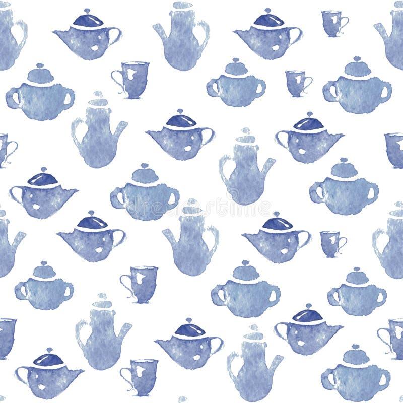 Teapots με τα φλυτζάνια ελεύθερη απεικόνιση δικαιώματος