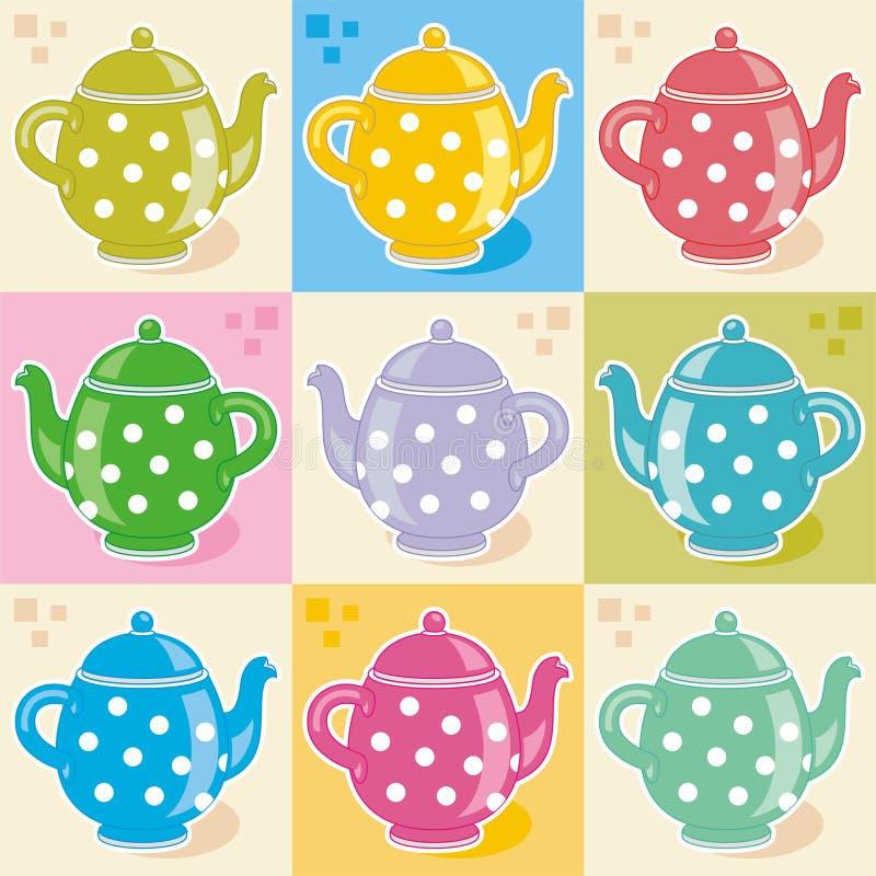 teapots Πόλκα σημείων απεικόνιση αποθεμάτων