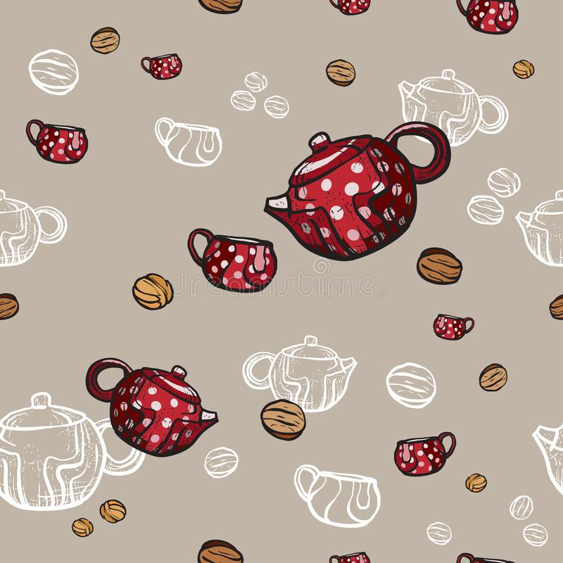 Teapots, cups and cookies seamless pattern hand drawn in old style. Tea time vector illustration. Food pattern vector illustration