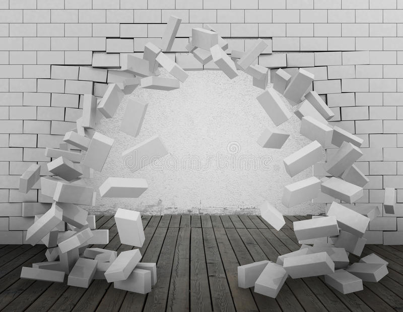 Tear down a wall 3d rendering stock photos