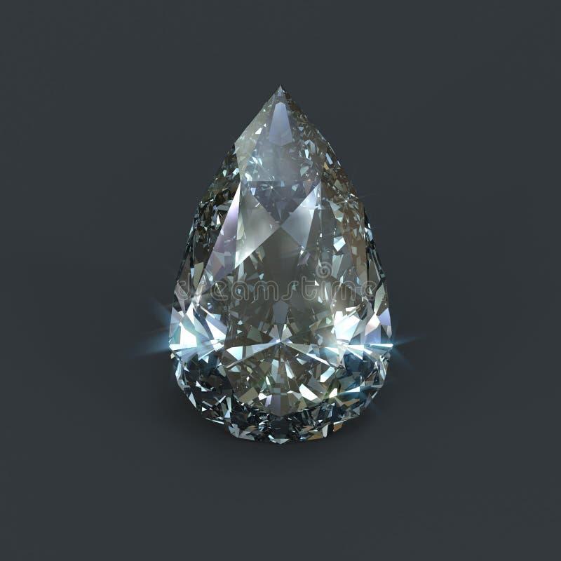 Tear drop shaped diamond isolated stock illustration