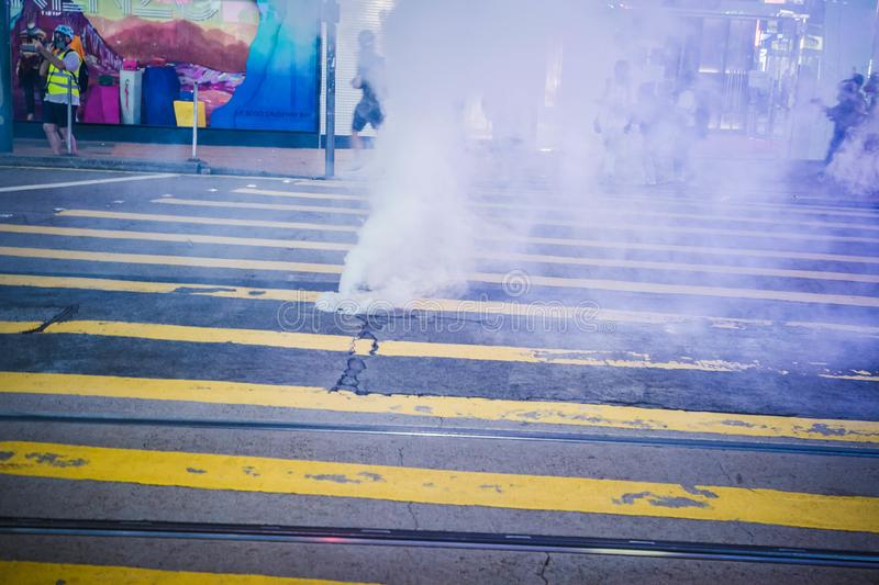 Hong Kong Protests tear gas set off amongst shoppers royalty free stock image