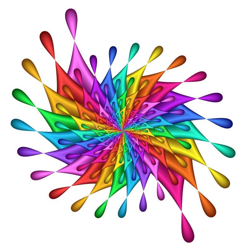 teardrop för regnbåge för fractalbildpinwheel royaltyfri illustrationer