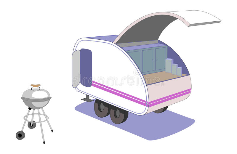 Download Teardrop Trailer And Cool Retro Grill Stock Vector - Image: 23302397