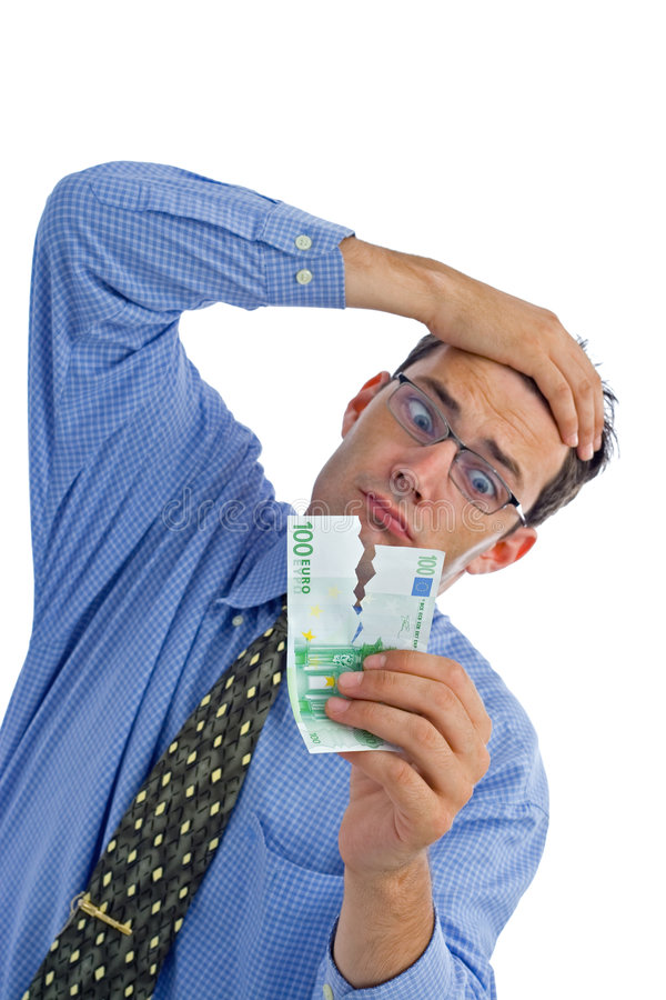 Teared banknote stock image