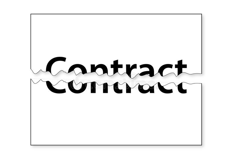 Teared Contract. Illustration of half teared white paper contract stock illustration