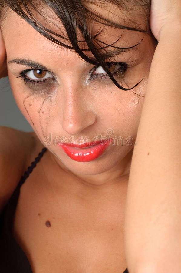 Download Tearful Woman In Black Dress Stock Photo - Image: 15556336