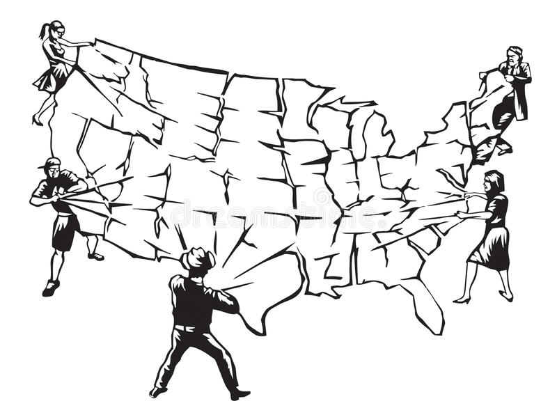 Tearing the country apart stock image