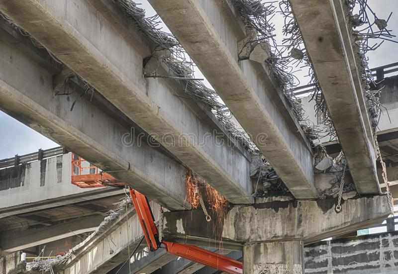Tearing Down The Alaska Way Viaduct. Sparks fly from the demolition of the Alaska Way Viaduct in Seattle royalty free stock photos