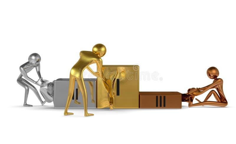 Tearing podium van gouden, zilveren en bronskarakters. Vooraanzicht stock illustratie