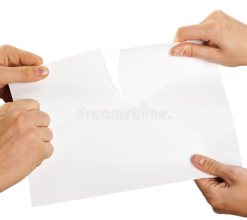 Tearing sheet of paper royalty free stock photos