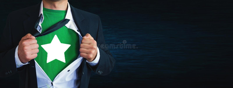 Tearing zakenman zijn overhemd en het tonen van ster royalty-vrije stock fotografie