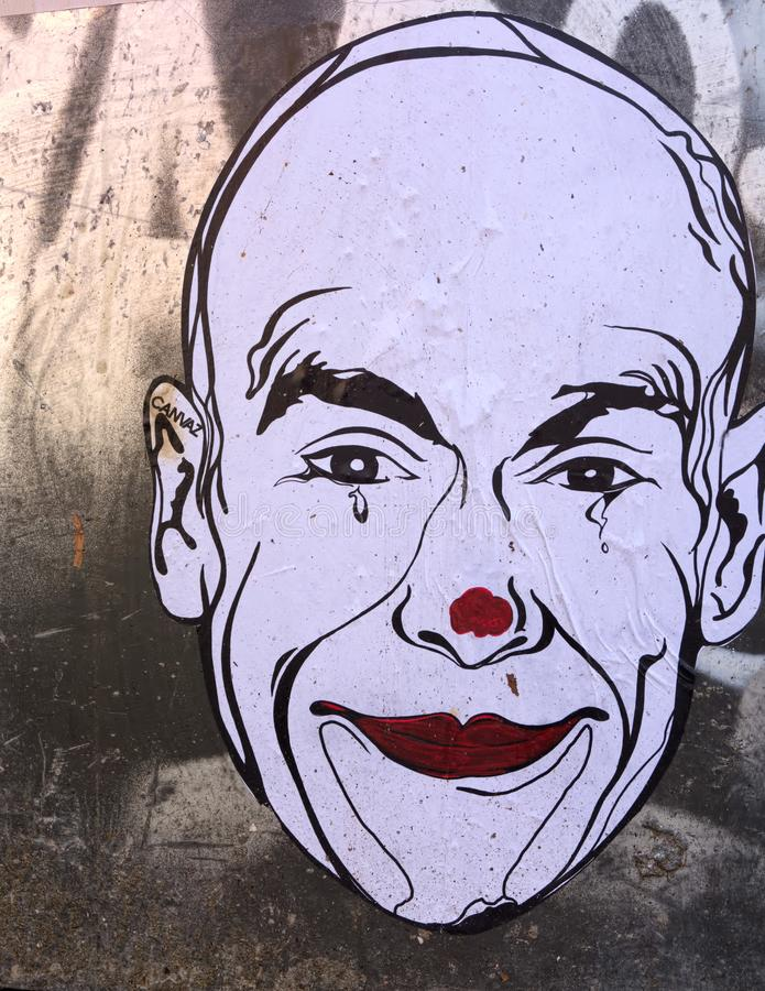Tears of a Clown. Urban street art by Canvaz stock image