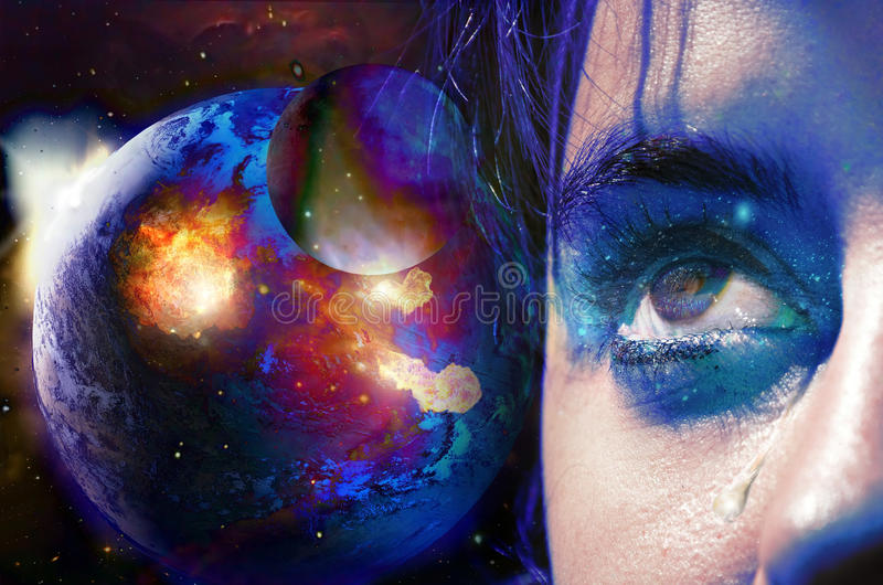 Tears for the Earth. Close view to a woman's face, in tears, looking at a destructing Earth stock illustration