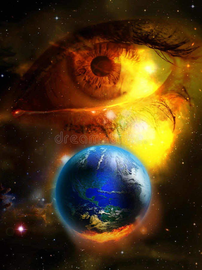 Tears for the Earth. Close view to a woman's eye, in tears, looking at a burning Earth vector illustration