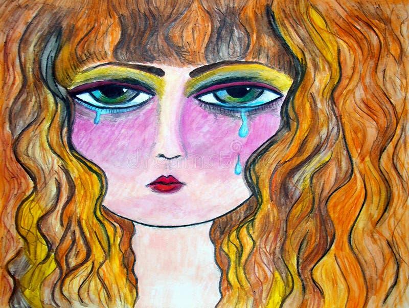 Teary eyed illustrazione di stock