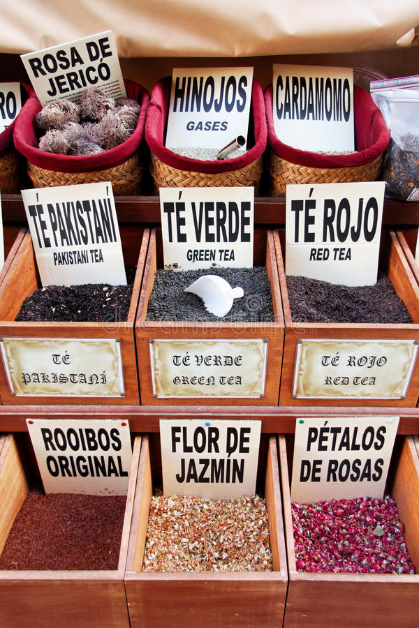 Teas, spices and flavourings on sale in Granada stock photos