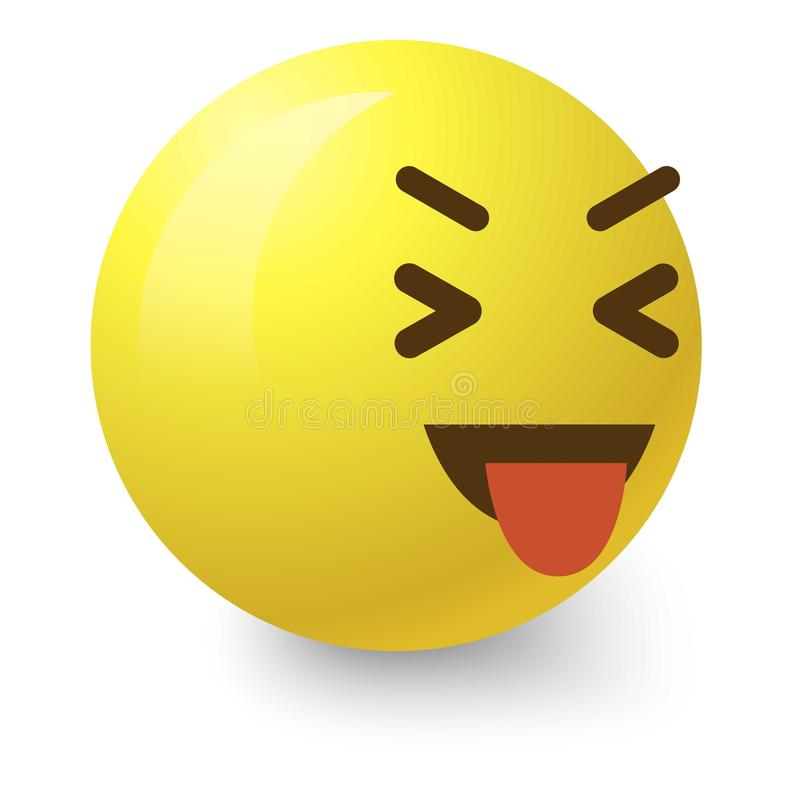 Teasing smiley icon, cartoon style. Teasing smiley icon. Cartoon illustration of teasing smiley vector icon for web stock illustration