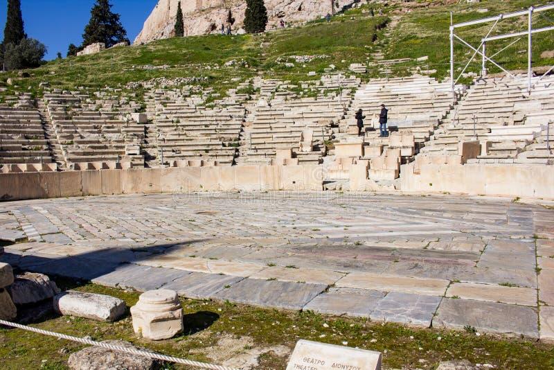 Teater av Dionysus Aten - partisk främre sikt arkivfoto
