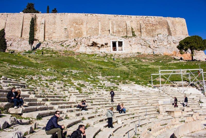 Teater av Dionysus Aten - partisk sikt royaltyfria foton
