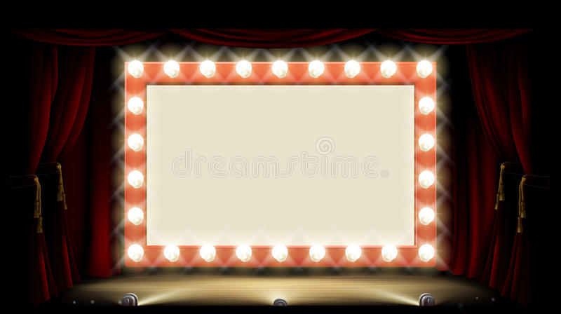 Teater eller bio med tecknet för ljus kula för stil vektor illustrationer