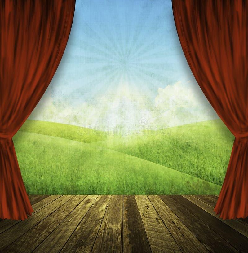 teater för bakgrundsnaturetapp royaltyfri illustrationer