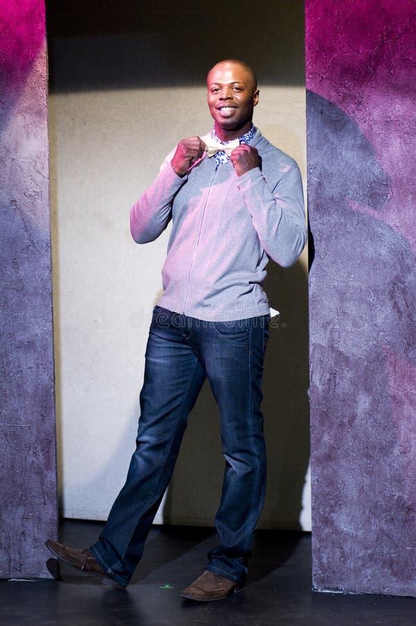 teater för etapp för skådespelareafrikansk amerikanstående royaltyfri fotografi