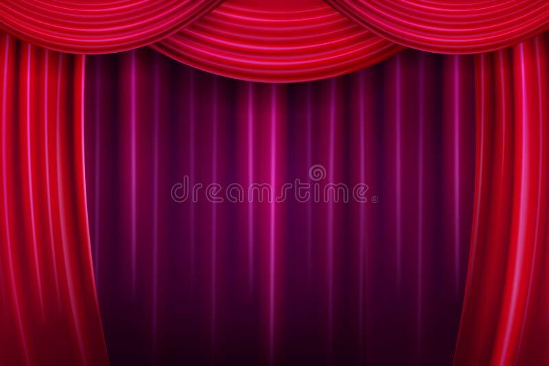 teater för etapp för show för begreppsgardinpresentation röd royaltyfri illustrationer