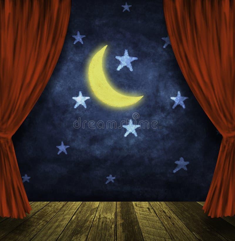 teater för moonetappstjärnor stock illustrationer