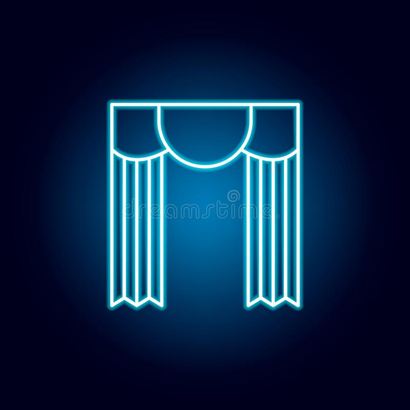 teater gardiner, översiktssymbol i neonstil beståndsdelar av utbildningsillustrationlinjen symbol tecknet symboler kan användas f vektor illustrationer