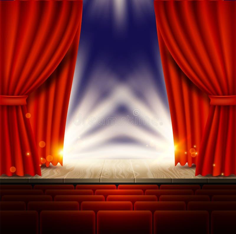 Teater opera, bioplats med den realistiska illustrationen för röd gardinvektor vektor illustrationer