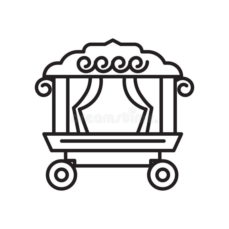 Teater på tecken för hjulsymbolsvektor och symbol som isoleras på vit bakgrund, teater på hjullogobegrepp stock illustrationer