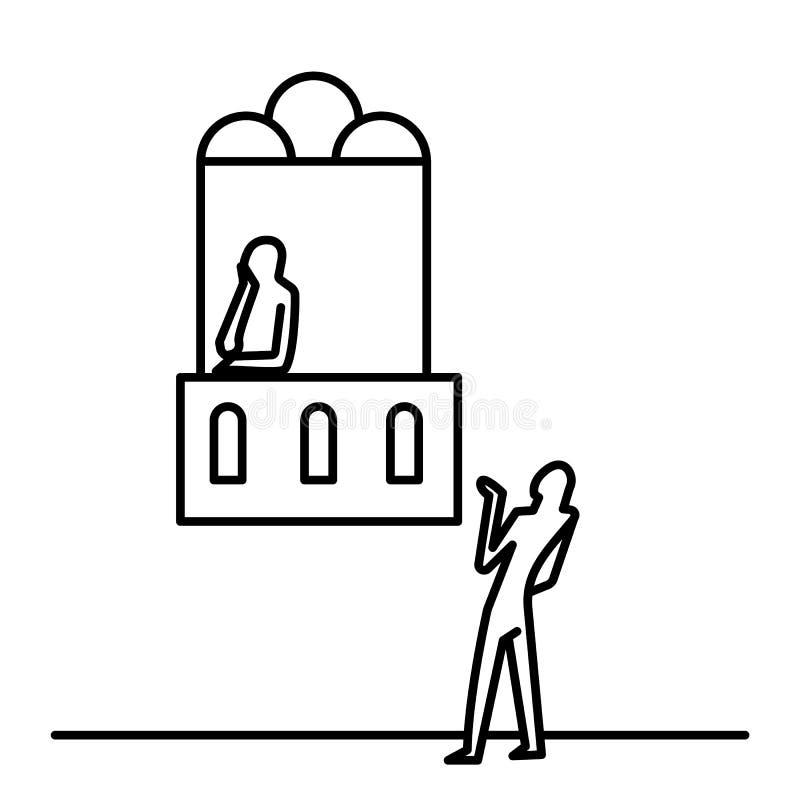 Teater, romantiker, man och kvinna Illustrationvektorsymbol vektor illustrationer
