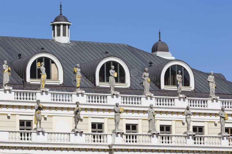 Teaterbyggnad i Skopje - arkitektur för gammal stil arkivfoto