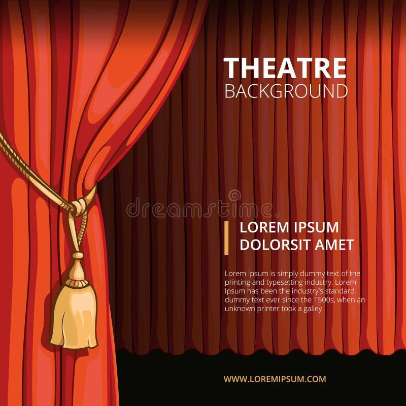 Teateretapp med en röd gardin Tappningvektor vektor illustrationer