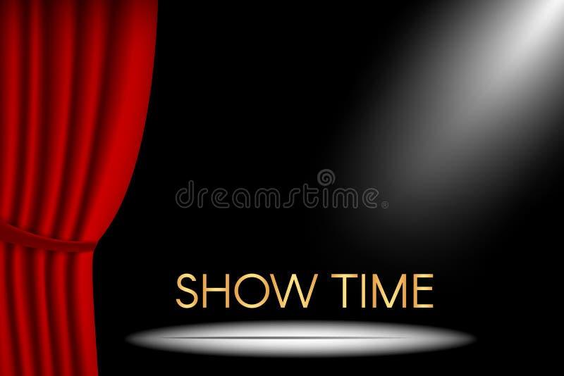 Teateretappen med gardinen och strålkastaren och showen tajmar inscripti stock illustrationer