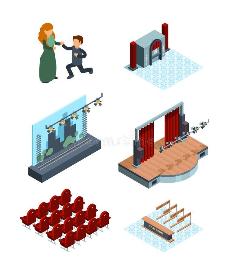 Teateretappgarnering Isometrisk inre av bilder för vektor för gardiner för skådespelare för platser för opera- eller balettkorrid royaltyfri illustrationer