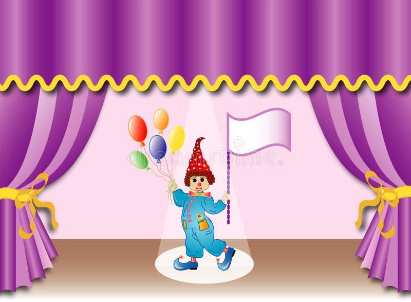 Teatergardin med clownen, eps stock illustrationer