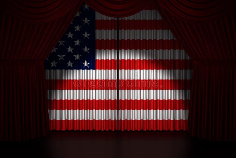 Download Teatergardin Med Flaggan USA Stock Illustrationer - Illustration av händelse, teater: 27282111