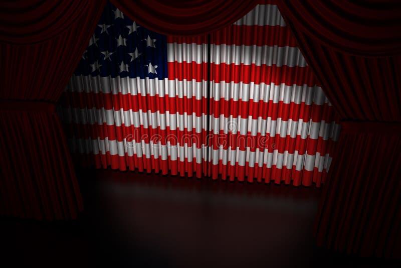 Download Teatergardin Med Flaggan USA Stock Illustrationer - Illustration av ceremoni, förhänge: 27282187