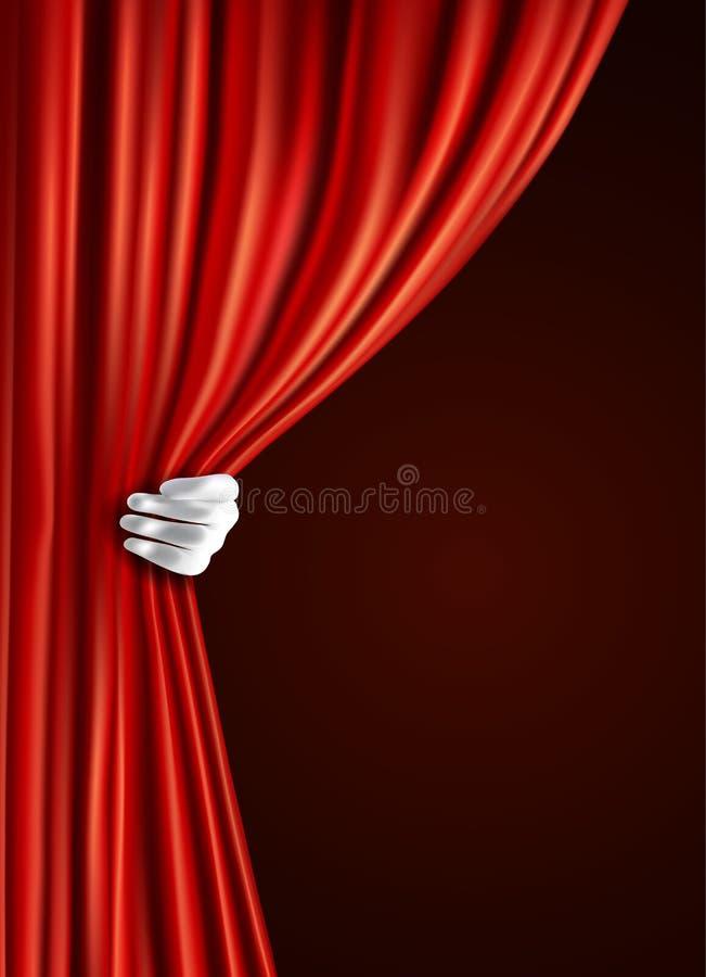 Teatergardin med handen royaltyfri illustrationer