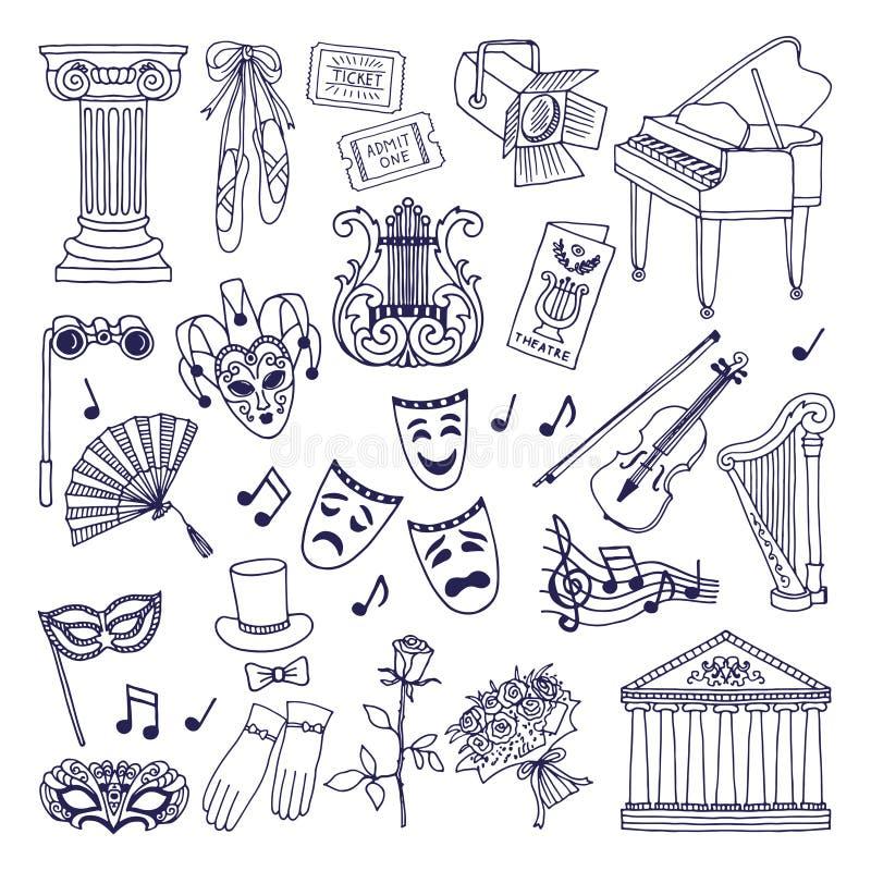 Teaterillustrationuppsättning Isolat för opera- och balettvektorsymboler på vit royaltyfri illustrationer