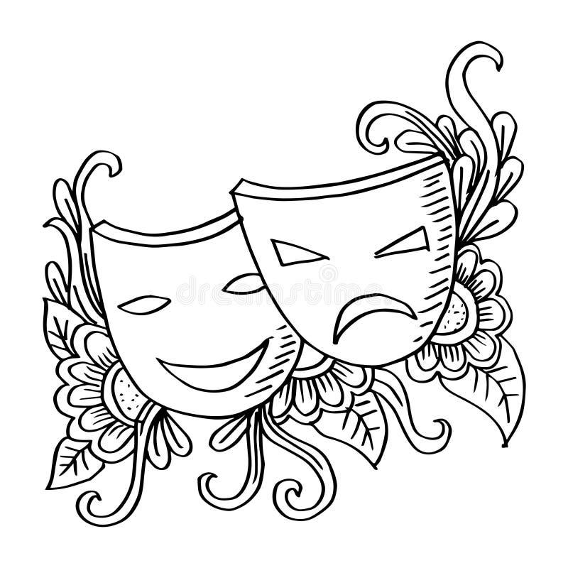 Teatermaskeringar, drama och komedi royaltyfri illustrationer