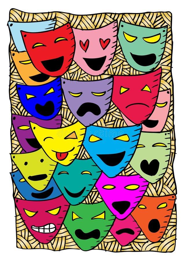 Teatermaskeringar, drama och komedi vektor illustrationer