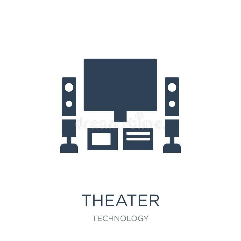 teatersymbol i moderiktig designstil Teatersymbol som isoleras på vit bakgrund enkelt och modernt plant symbol för teatervektorsy stock illustrationer