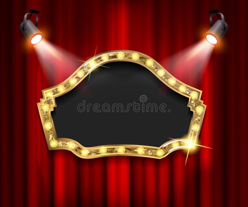 Teatertecken på gardinen med strålkastaren vektor illustrationer