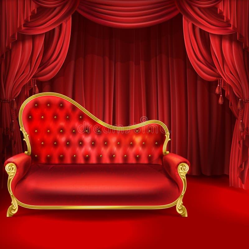Teatervektorbegreppet, den röda soffan, plats hänger upp gardiner vektor illustrationer