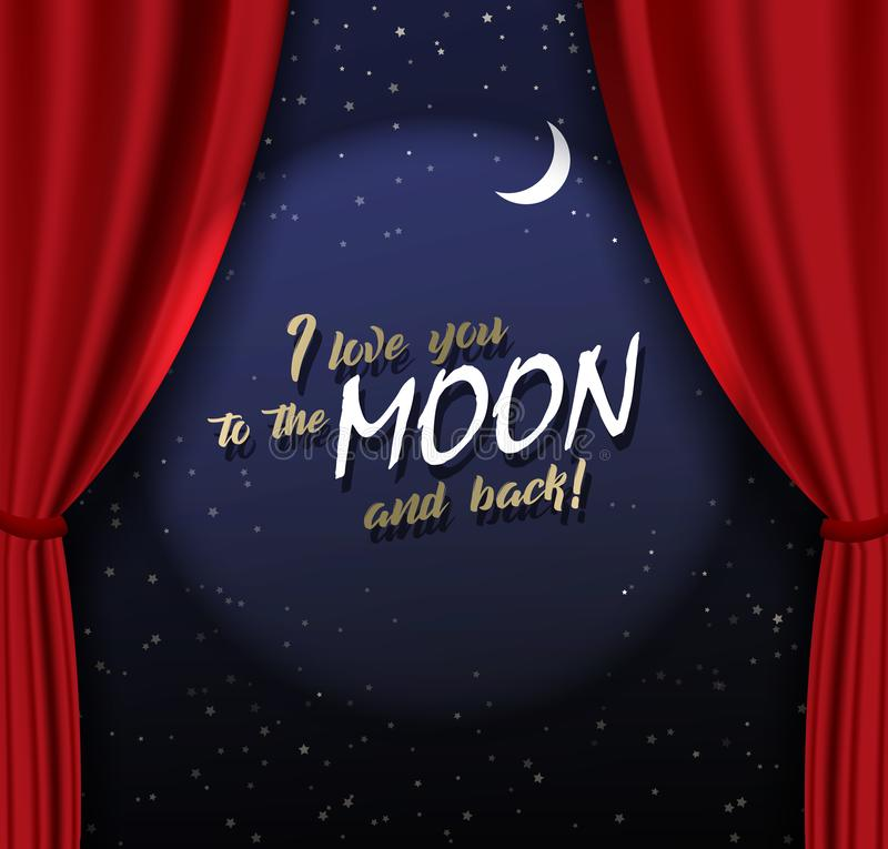 Free Teather Stage With Red Heavy Curtain With Golden Text And Moon Royalty Free Stock Images - 134714109