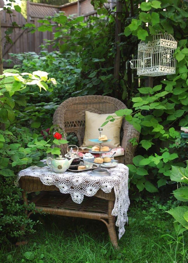 Teatid med scones, driftstopp och vispgrädde royaltyfri bild
