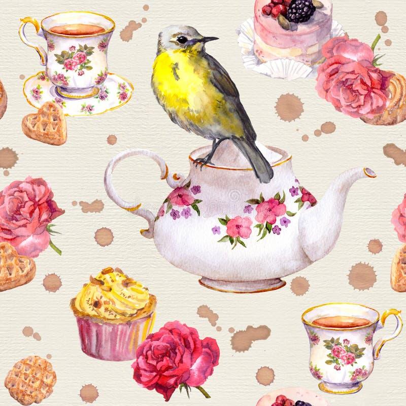Teatime: το δοχείο τσαγιού, φλυτζάνι, κέικ, αυξήθηκε λουλούδια, πουλί πρότυπο άνευ ραφής watercolor ελεύθερη απεικόνιση δικαιώματος